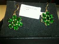 NEW RUSSIAN GREEN CHROME DIOPSIDE, FLOWER EARRINGS