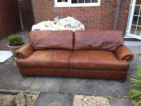 Brown Leather John Lewis Blakelands 4 Seater Sofa