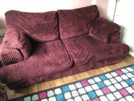 Purple cord sofa bed