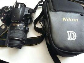 Perfect condition Nikon D3200 SLR Camera +18-55mm VR Lens (24.2MP)+ Original Nikon bag.