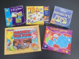 5 Early Years Games: Teapot Game, First Lotto, First Puzzles, Disney Memory, Magnetic Fish Pond