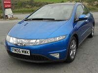 HONDA CIVIC 2.2 i-CDTi, 2006, VIVID BLUE, TURBO DIESEL, 6 SPEED, NEW MOT, PANORAMIC ROOF, SUPERB CAR