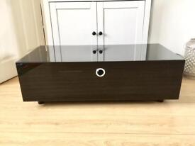 Black glass TV unit with 'Beamthru'