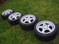 "Porsche 3.6 Turbo 911 930 964 944 968 993 Veloce 18"" 9.5J 8J Alloys Wheels Tyres"