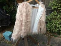 Pale blush faux fur jacket