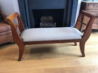 Beautiful Upholstered Bed End Bench in Rosewood Finish