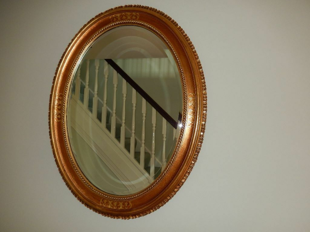 mirror oval gilt mirror which can be hung either way