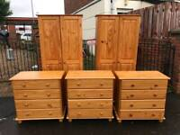 solid honey pine wardrobe and chest of drawers