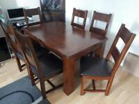 Solid wood extendible dining table & 6 chairs modern contemporary style