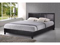 """Brand New Double Leather Bed With 9"""" Semi Orthopedic Mattress £119 FREE DELIVERY"""
