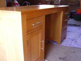 Large, solid oak desk, excellent condition
