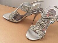 Next - Ladies Silver Diamante Sandals - Size 5