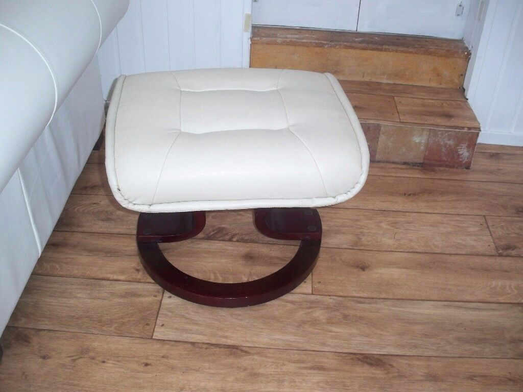 Cream leather stool