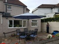 ***Stunning Bramble Crest Table and Chairs with matching Cushions and Parasol***