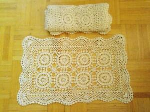 "Oakville 19x11"" Cream 5 Hand Crocheted Placemats. Beautifully made by hand. Table Linen from the midcentury."