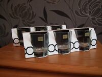 6 cut glass tumblers. Still boxed. Never used.