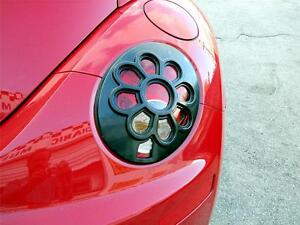 06-10 VW VOLKSWAGEN BEETLE DAISY FLOWER TAIL LIGHT PAINTABLE BLACK 2PC COVERS
