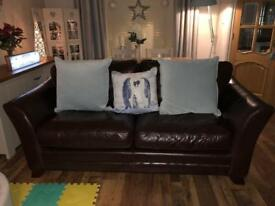 Brown leather 2x3 seater and footstool settee sofa 3 piece suite