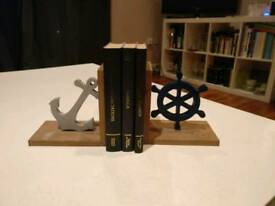 Nautical book ends (anchor and wheel) £10 OBO