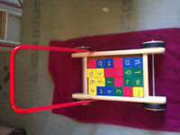 Wooden baby walker trolley with coloured blocks