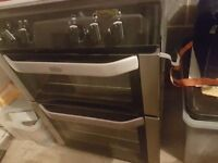 Belling silver and black elec double oven and gas hob