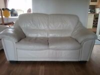 Cream leather, two seater sofa