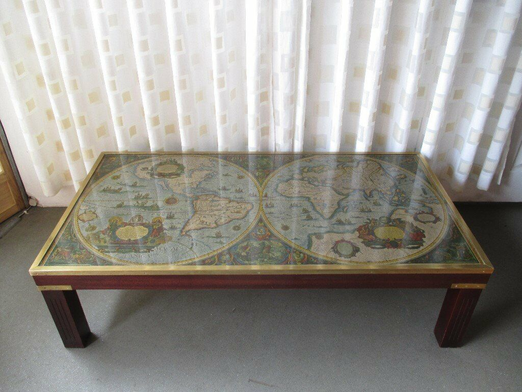 Old World Map Coffee Table.Large Vintage Brass Bound Mahogany Coffee Table With World Map