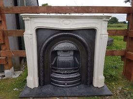 133 Cast Iron Fireplace Surround Fire Marble Arch Arched Antique Victorian Style
