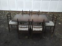"""Oak extending table with 6 chairs EX """"younger furniture"""""""