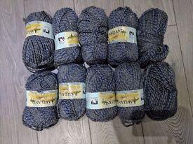 10 X LAKELAND 100g CHUNKY yarn knit acrylic BANBURYS Grey shades blue BULK