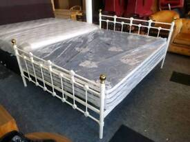 Bed - Quality White Metal Kingsize Bed Frame and Ex Display Mattress
