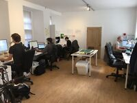 Desk space for hire at shared co-working studio in Edinburgh