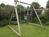 Wooden Double Swing frame with deluxe seat and trapeze bar, excellent condition, reluctant sale.