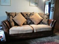 Brown Leather 2/3 Seater Sofa/Couch with Corduroy Seat Cushions and Back