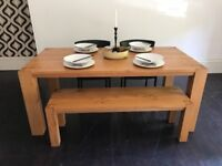 Real Oak 6 Dining Table with matching Oak Bench by House of Fraser