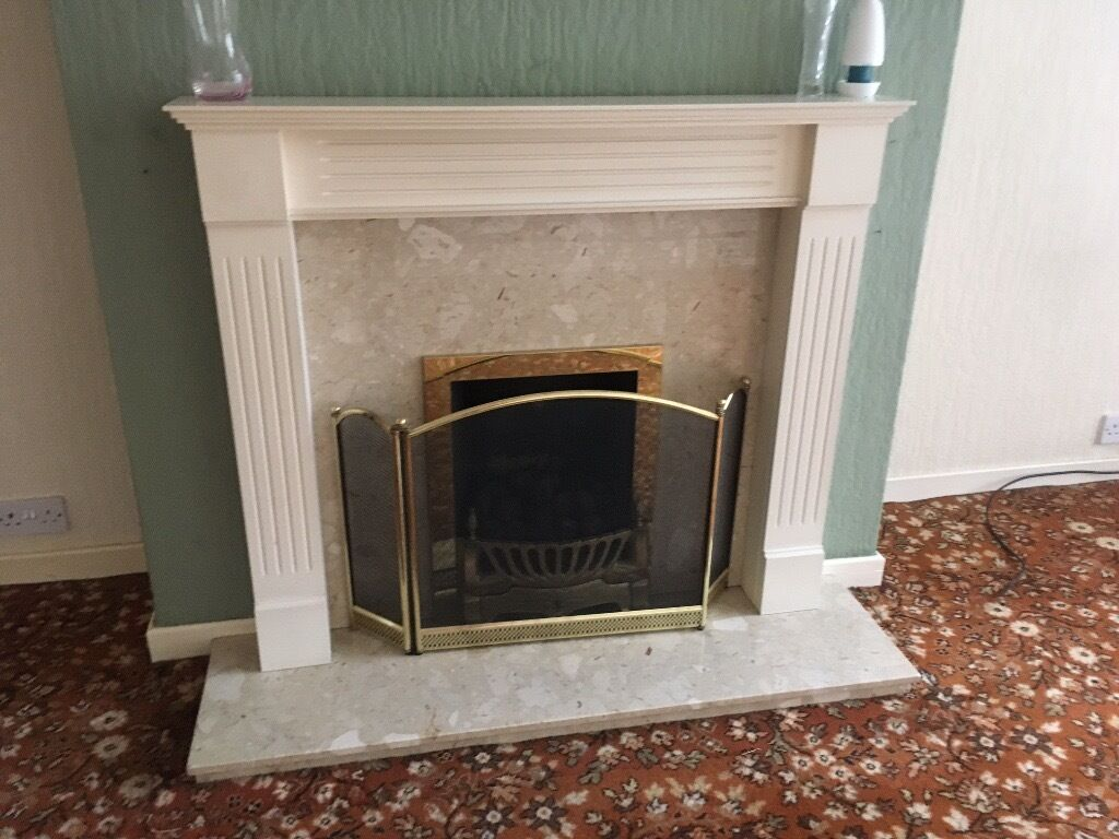 "Fireplace with fire. Bargainin Whitley Bay, Tyne and WearGumtree - Fireplace (4 x 36"") with marble insert, hearth (46"" x 13"") no fireguard. Great condition, priced to sell"