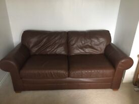 Genuine brown leather 3 seater sofa in great condition