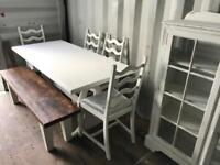 White dining table/ shabby chic cabinet