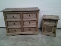 Ex display big Dark pine chest drawers and bedside. Can deliver.