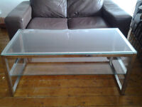 Glass & Chrome TV Stand / Coffee Table