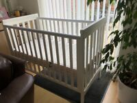 Mamas & Pappas Babies white wooden cot. £45.00 ono