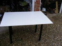 white designer desk, formica top, 117cm width, 80cm depth, 70cm height