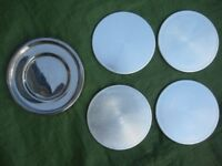 Four Marks and Spencer Sliver Coloured Coasters with Chrome Storage Holder for £3.00