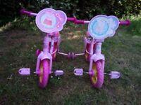 2 Peppa pig 10in toddler training bikes.