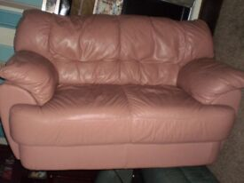 Sofa Genuine Leather .Color of a Dirty Cherry.Good Condition