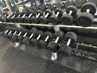 2 sets of TuffTech dumbbells (4 dumbbells) from 10kg 12.5kg .. 50kg with 4 racks