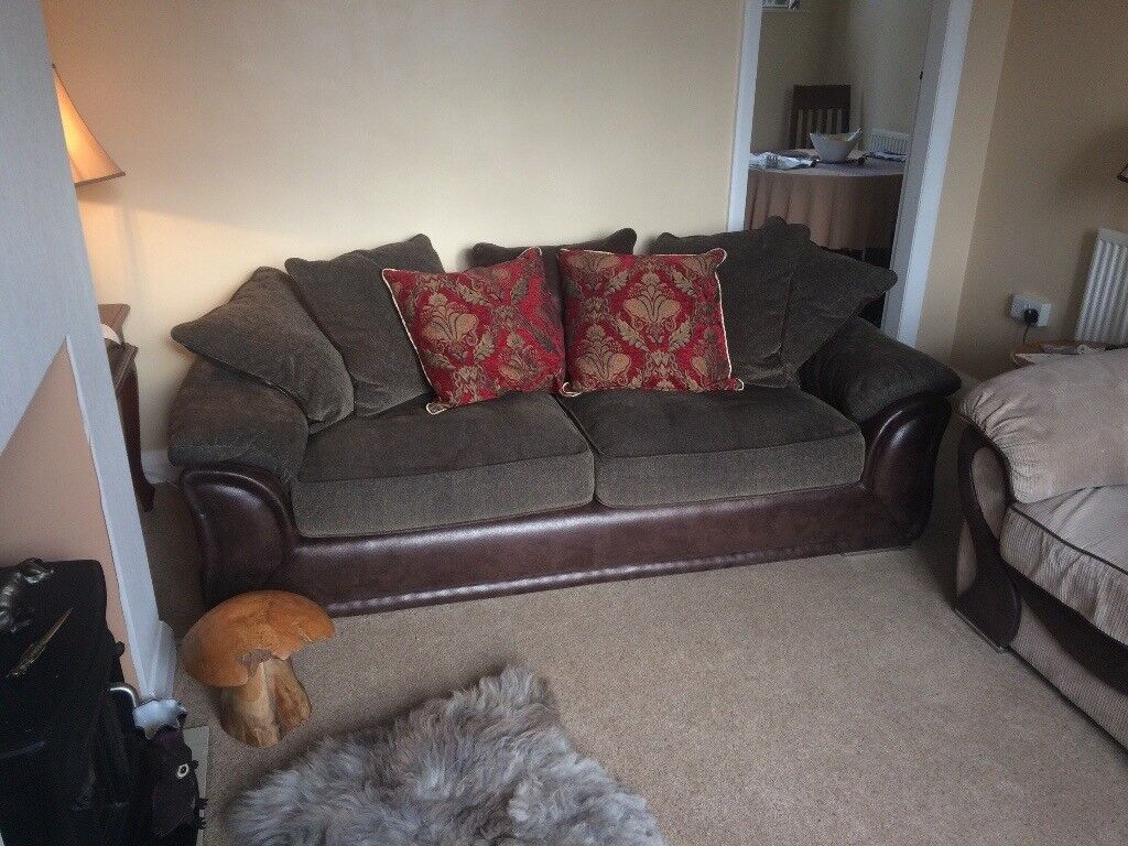 Four Seater Settee - Fabric and Leather, Handmade. Used - still in pristine condition