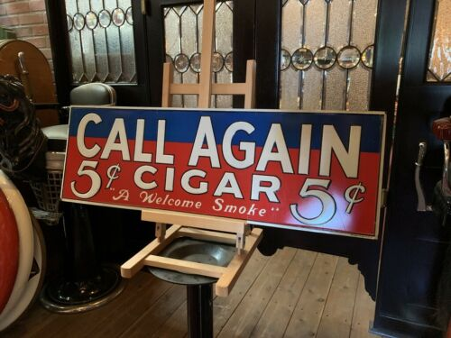 """Vintage CALL AGAIN Cigar  35"""" Tin Advertising Sign """"Watch Video"""""""