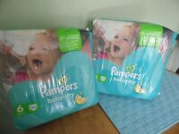 2 PACKETS PAMPERS SIZE 6 NAPPIES 66 IN TOTAL
