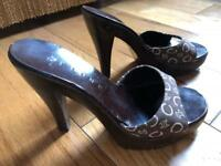 Celine Brown Sandals Wood Platform size 36.5